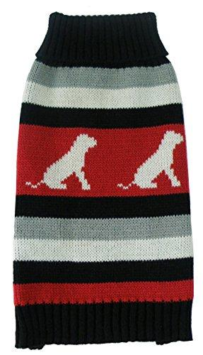 Dog Patterned Stripe Fashion Ribbed Turtle Neck Pet Sweater