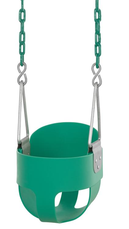 Swingan - High Back, Full Bucket Toddler & Baby Swing - Vinyl Coated Chain - Fully Assembled - Green