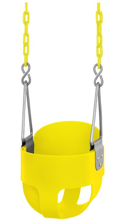 Swingan - High Back, Full Bucket Toddler & Baby Swing - Vinyl Coated Chain - Fully Assembled - Yellow
