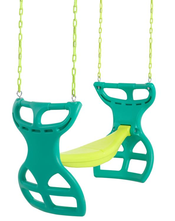 Swingan - Two Seater Glider Swing - Vinyl Coated Chain - Hardware For Intallation Included - Green - Yellow
