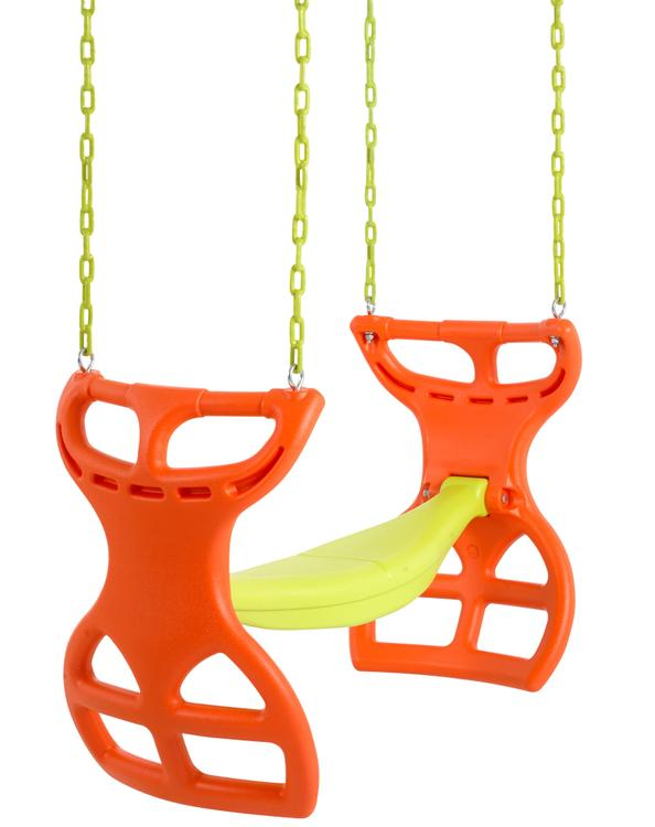 Swingan - Two Seater Glider Swing - Vinyl Coated Chain - Hardware For Intallation Included - Orange - Yellow