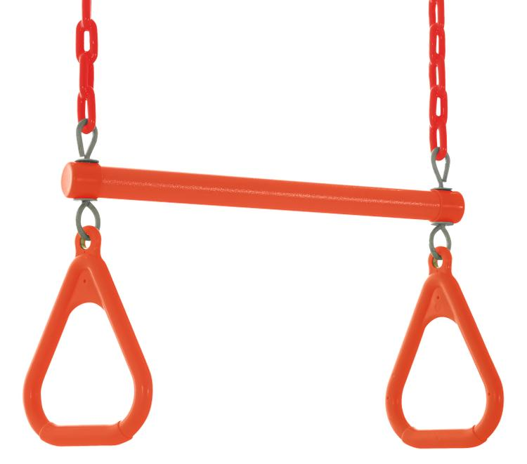 Swingan - Trapeze Swing Bar - Vinyl Coated Chain - Fully Assembled - Orange