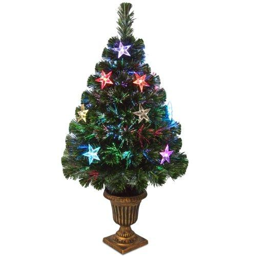 National Tree Fiber Optic Evergreen Tree with Star Decorations