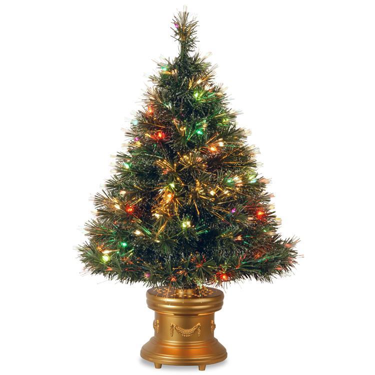 National Tree 36 inch Fiber Optic Ice Tree With Multicolor Lights [Item # SZIX7-102L-36-1]