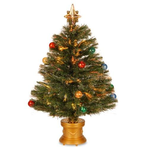 National Tree Fiber Optic Fireworks Tree with Ball Ornaments [Item # SZOX7-100L-32-1]