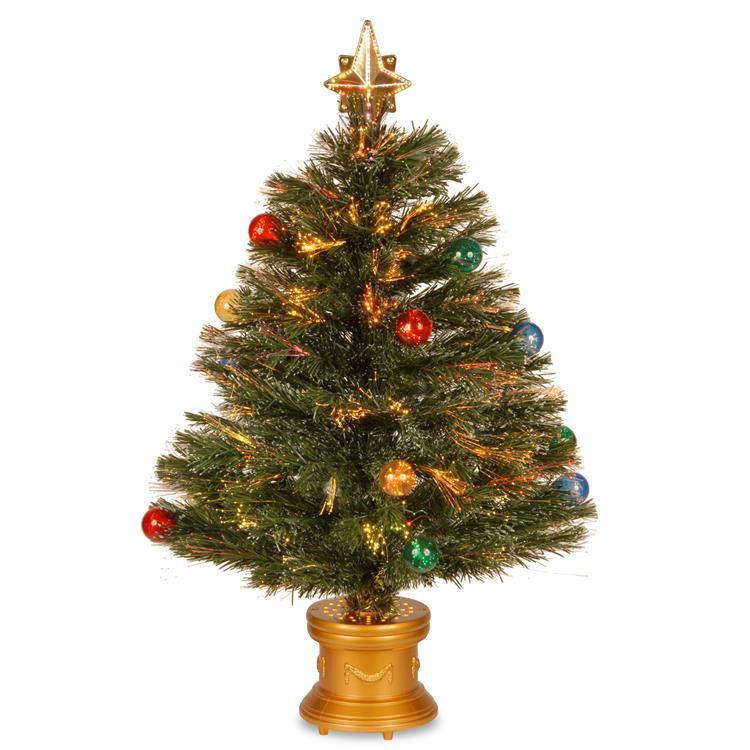 National Tree Fiber Optic Fireworks Tree with Ball Ornaments [Item # SZOX7-100L-32-1]