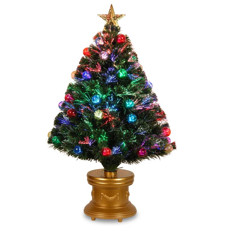National Tree Fiber Optic Fireworks Tree with Ball Ornaments [Item # SZOX7-100L-36-1]