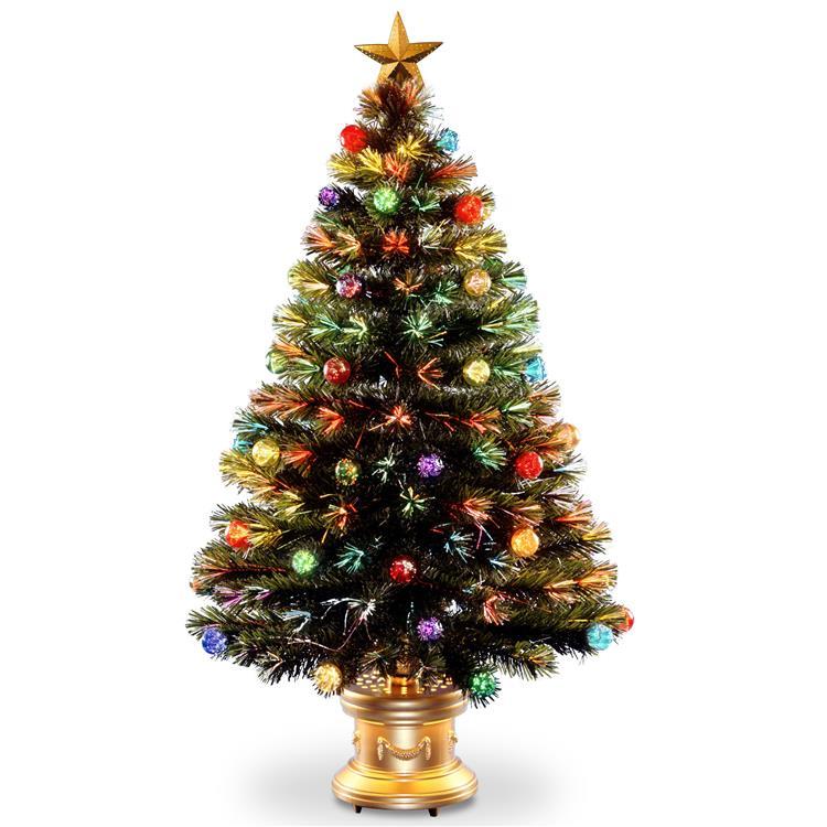 National Tree Fiber Optic Fireworks Tree with Ball Ornaments
