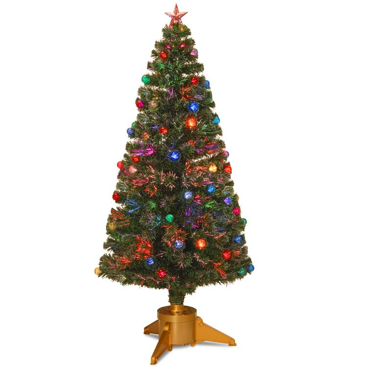 National Tree Fiber Optic Fireworks Tree with Ball Ornaments - [SZOX7-100L-32-1]