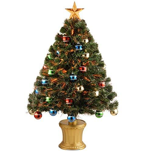 National Tree Fiber Optic Fireworks Tree with Glittered Balls