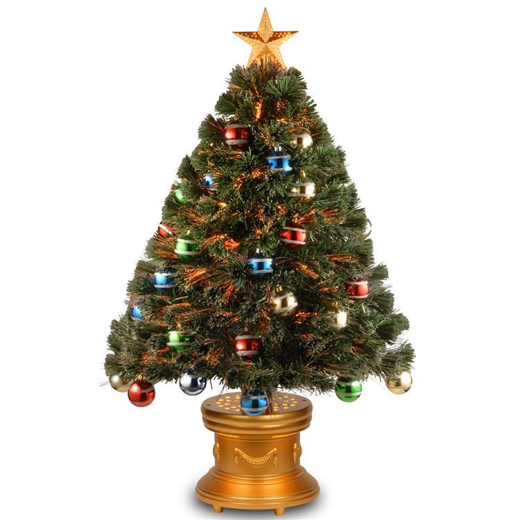 National Tree Fiber Optic Fireworks Tree with Ball Ornaments [Item # SZOX7-176L-36]