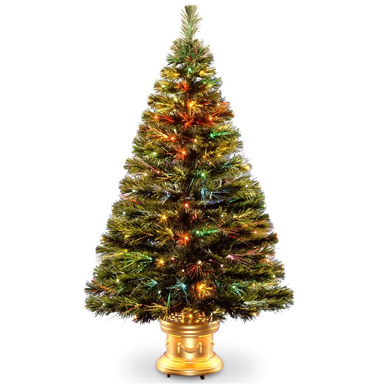 National Tree Fiber Optic Radiance Fireworks Tree with Gold Base