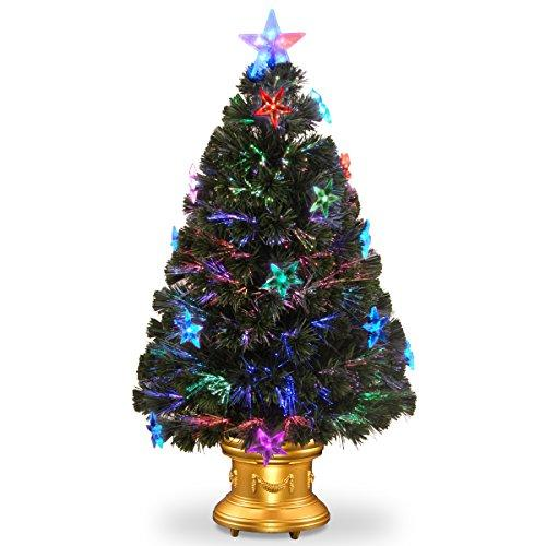 National Tree Fiber Optic Fireworks Tree with Star Decorations