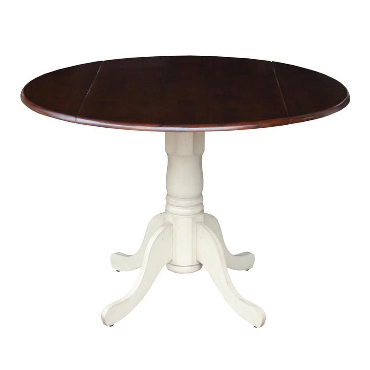 International ConceptsRound Dual Drop Leaf Ped Table - Finish:Antiqued Almond/Espresso