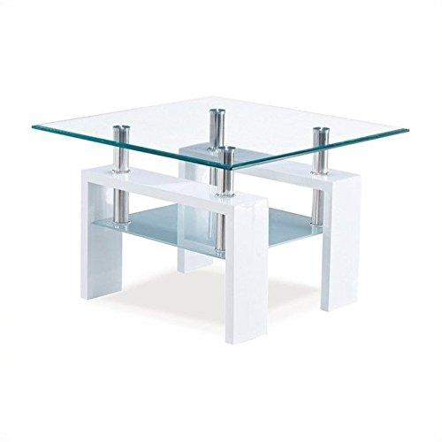 Global Furniture End Table Glossy White