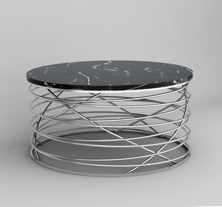 Emerald Home Amherst Round Cocktail Table Black Marble Top