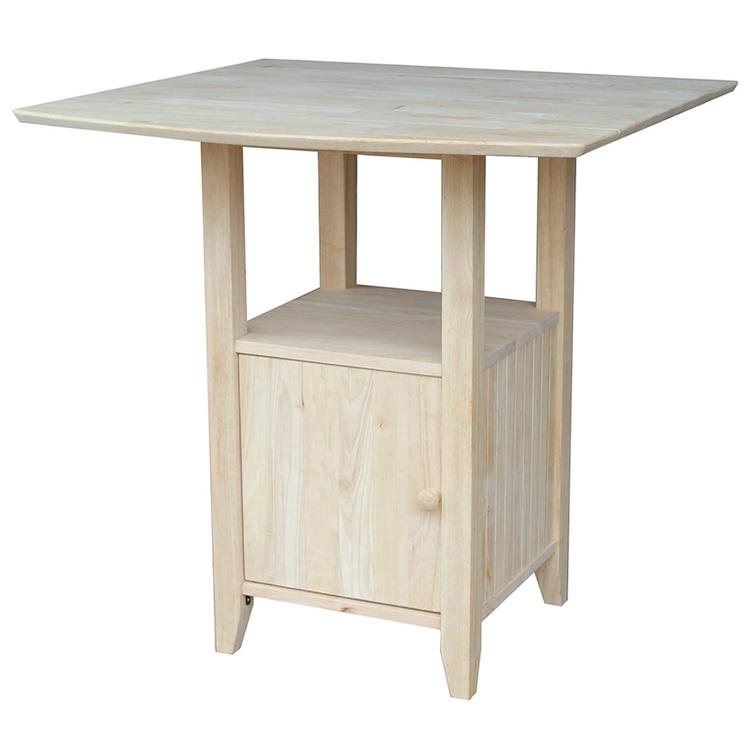 International Concepts Dual Drop Leaf Bistro Bar Table with Storage