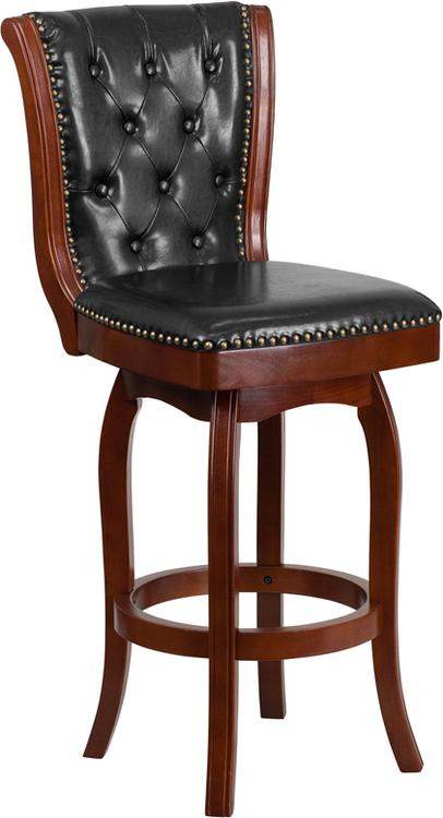 High Barstool With Leather Swivel Seat