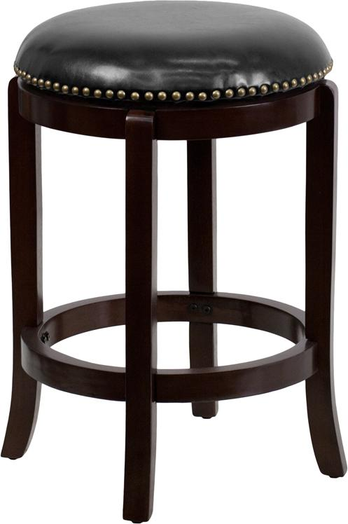 Flash Furniture High Backless Wood Barstool With Leather Swivel Seat