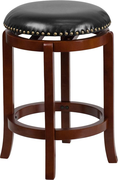 High Backless Counter Height Stool With Leather Swivel Seat