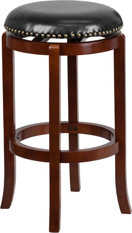 High Backless Barstool With Leather Swivel Seat