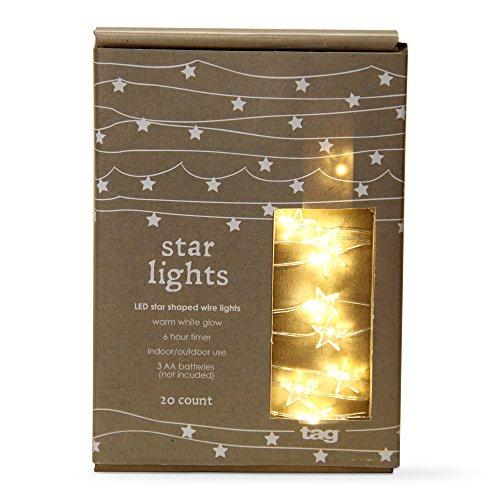 TAG Christmas Led Star Shaped Wire Lights, Clear 20 count
