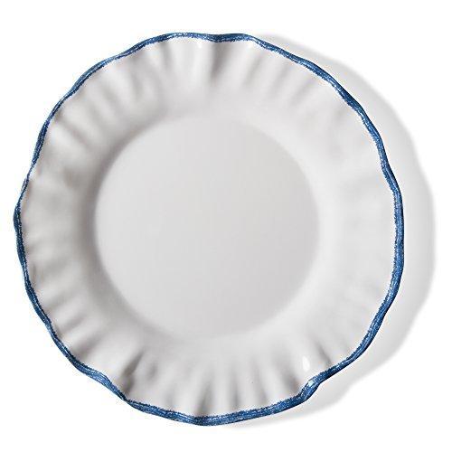 TAG Ruffle Rim Melamine Dinner Plate Set Of 4 White