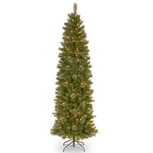National Tree Tacoma Pine Pencil Slim Tree with Clear Lights