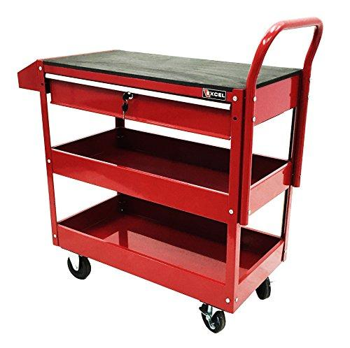 Excel 36-Inch Steel Tool Cart, Red
