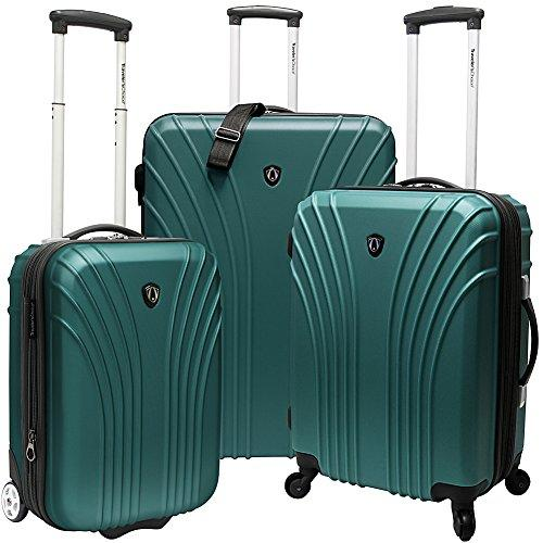 Traveler's Choice 3-Piece Hardsided Ultra Lightweight Luggage Set (One Checked Bag and 2 Carry-Ons), Green
