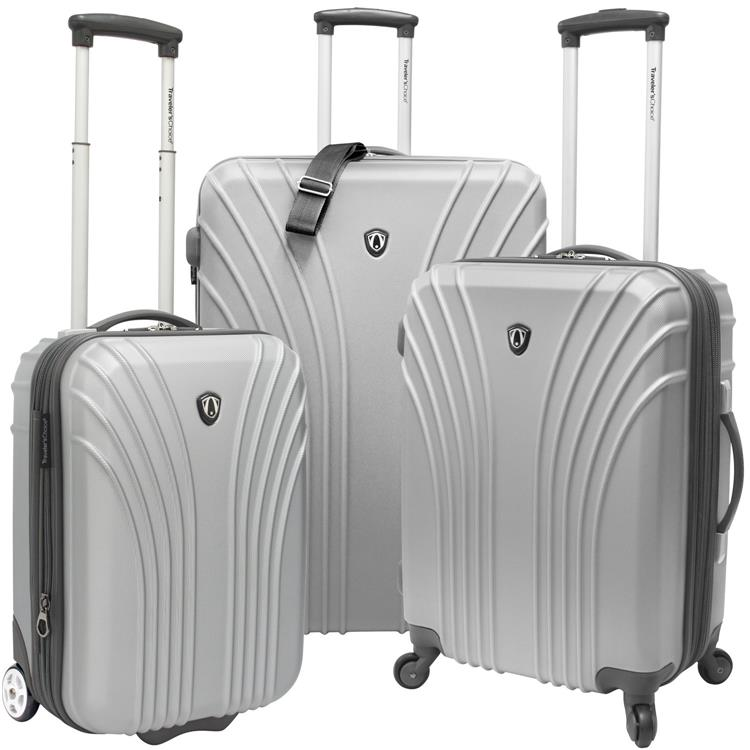 Traveler?s Choice 3-Piece Hardsided Ultra Lightweight Luggage Set (One Checked Bag and 2 Carry-Ons), Silver