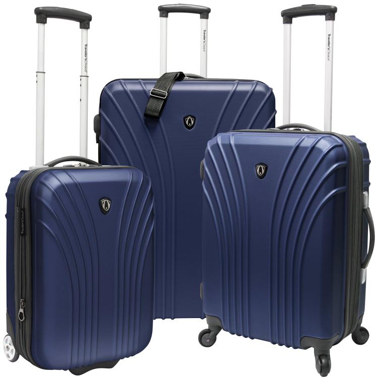 Traveler's Choice 3-Piece Hardsided Ultra Lightweight Luggage Set (One Checked Bag and 2 Carry-Ons), Navy