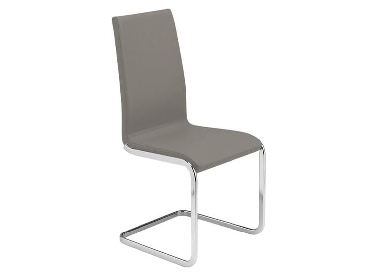 AURORA Italian Taupe Leather  Dining Chair by Casabianca Home