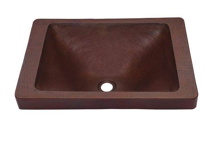 Novatto SANTA CRUZ Copper Drop-In Bathroom Sink, Antique