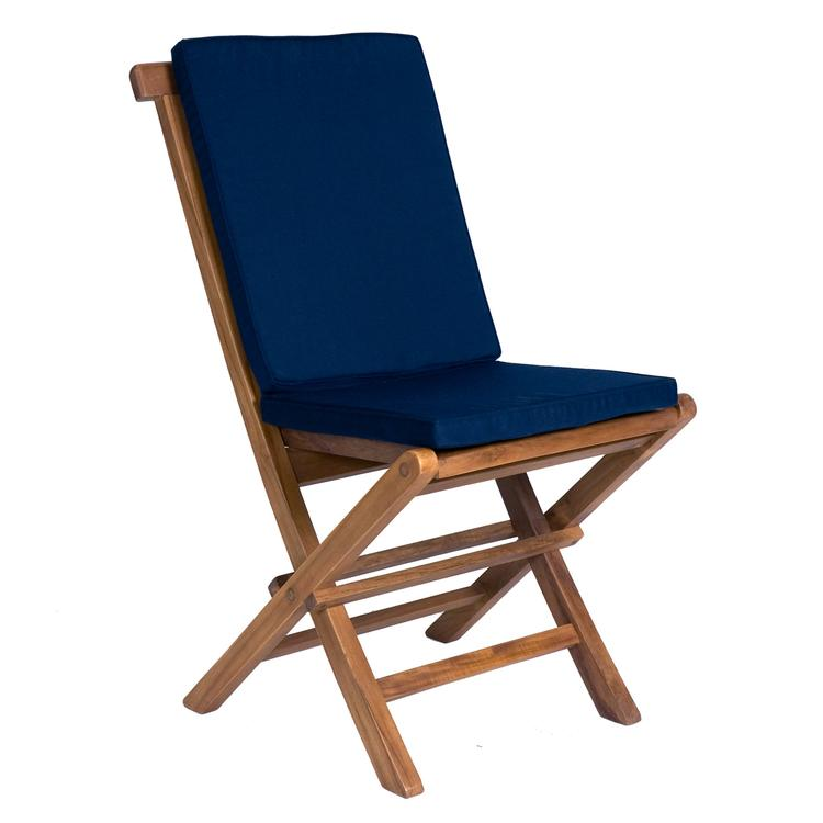 All Things Cedar Folding Chair & Blue Cushion