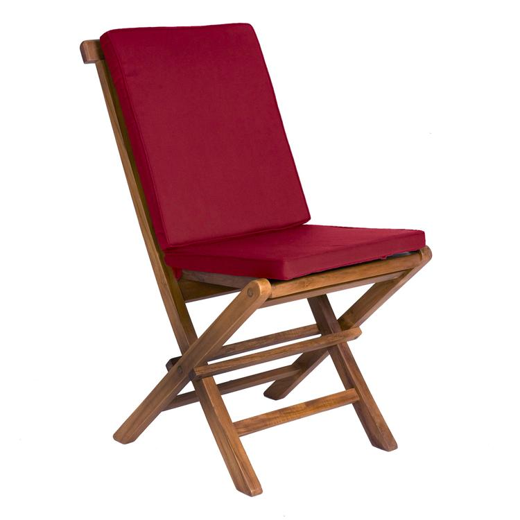 All Things Cedar Folding Chair & Red Cushion