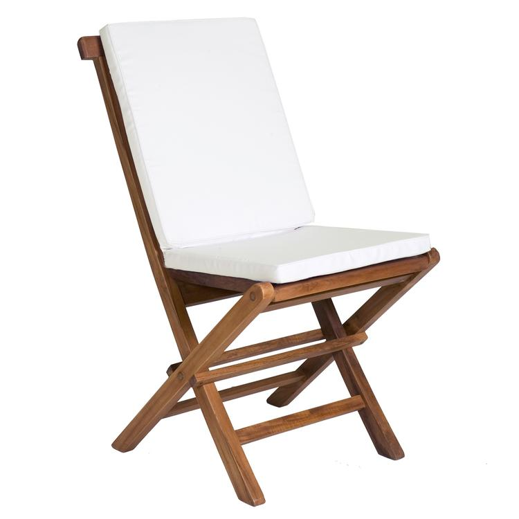All Things Cedar Folding Chair & White Cushion