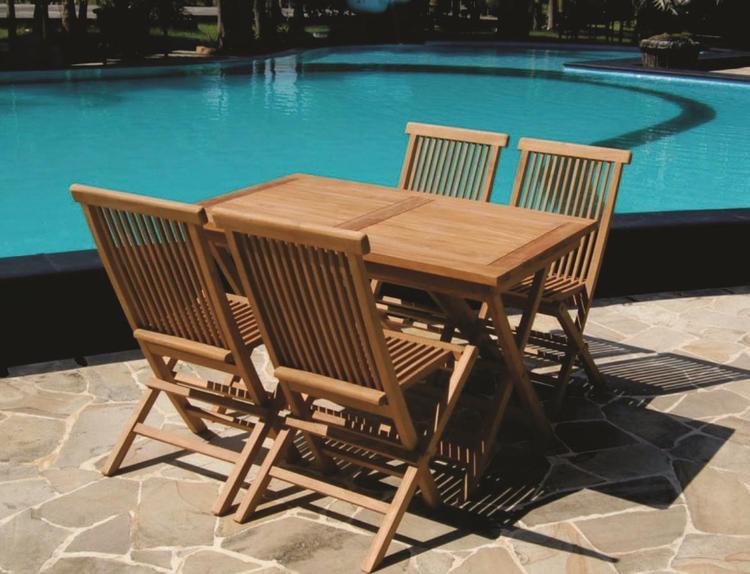 4 Folding Teak Chair and Rectangular Table