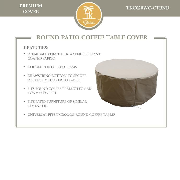 Barbados/Florence/Fairmont/Laguna Round Coffee Table Protective Cover, in Grey