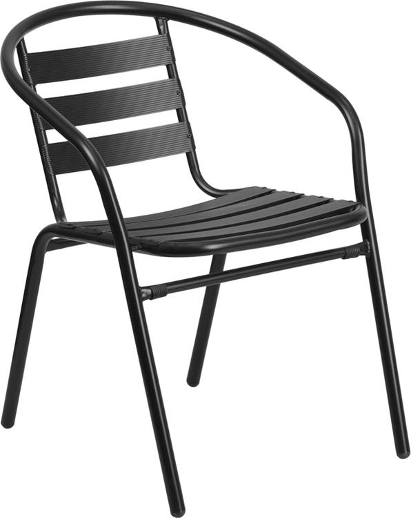 Metal Restaurant Stack Chair With Aluminum Slats
