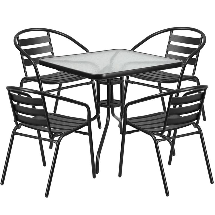 Flash Furniture Square Glass Metal Table With 4 Metal Aluminum Slat Stack Chairs