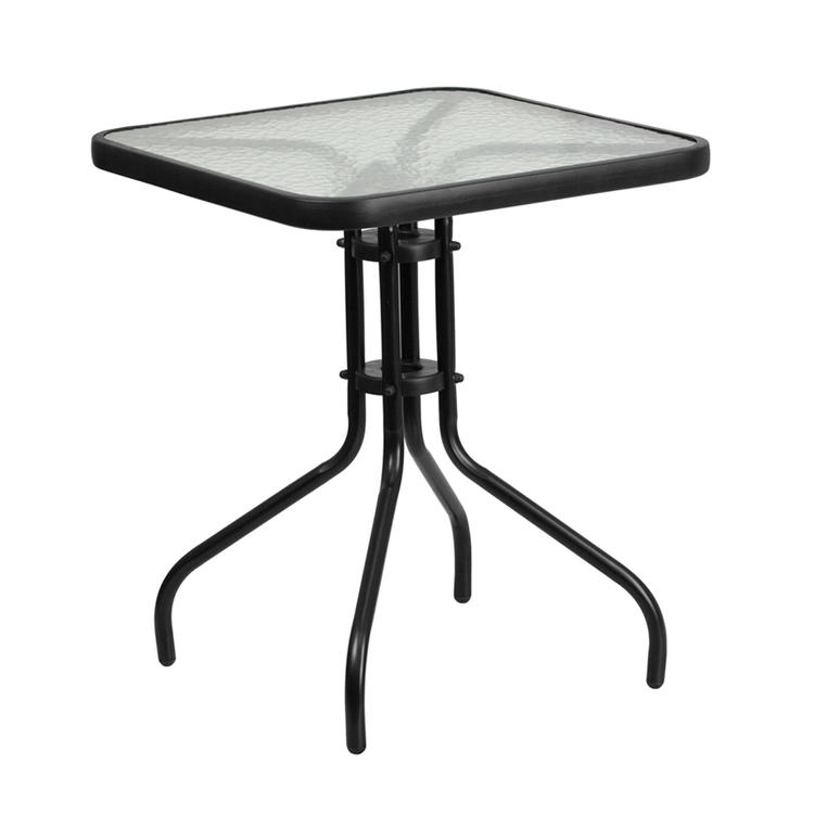 Square Tempered Glass Metal Table