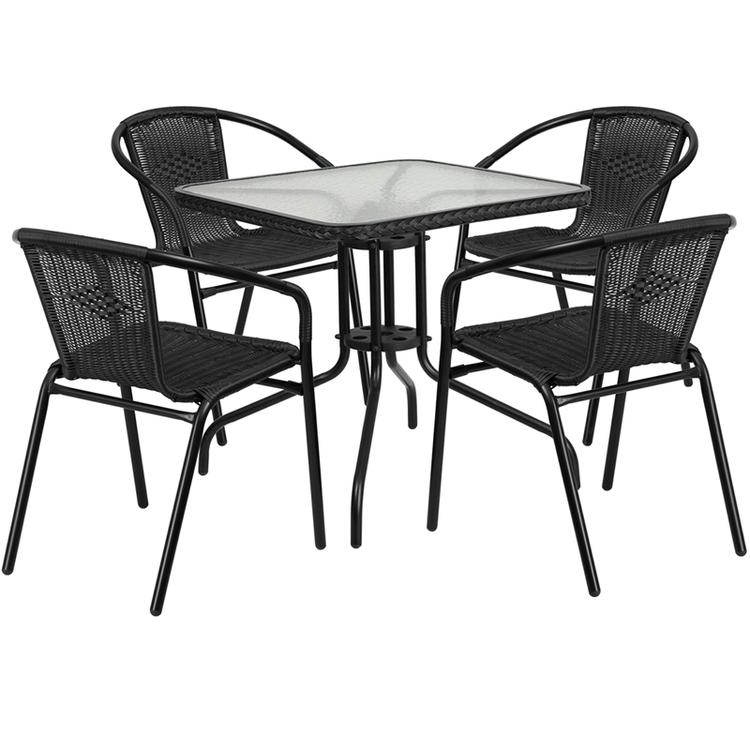 Square Glass Metal Table With Rattan Edging And 4 Rattan Stack Chairs