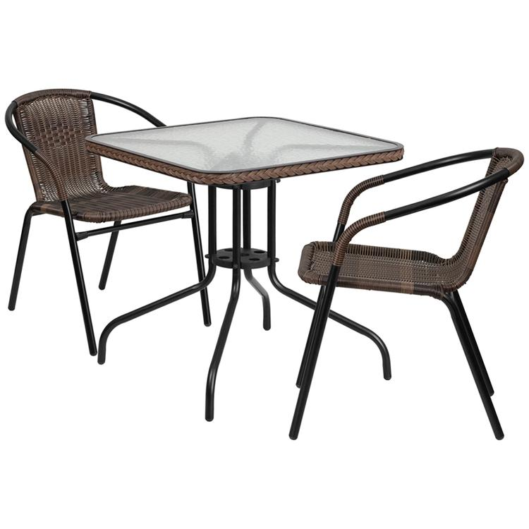 Square Glass Metal Table With Rattan Edging And 2 Rattan Stack Chairs