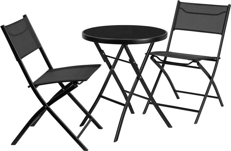 Flash Furniture Round Tempered Glass Metal Outdoor Table Set