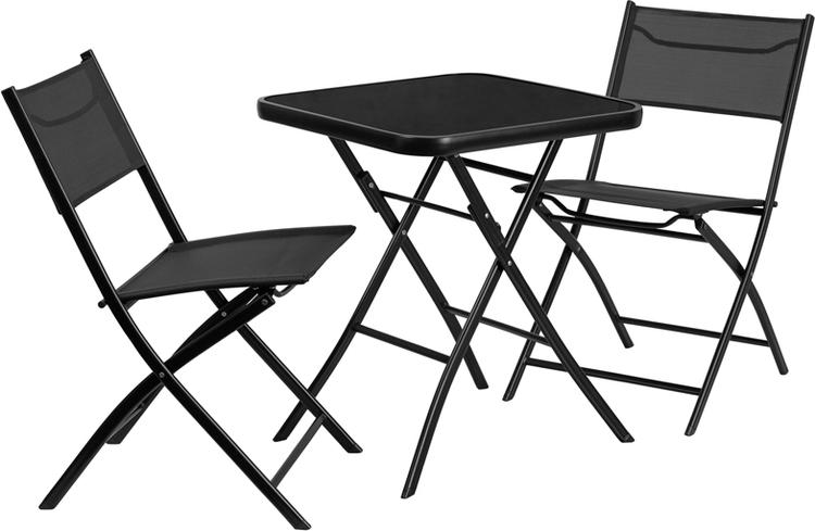 Flash Furniture Square Tempered Glass Metal Outdoor Table Set