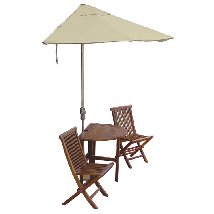 TERRACE MATES BISTRO Standard Table Set w/ 9'-Wide OFF-THE-WALL BRELLA - Antique Beige Sunbrella Canopy