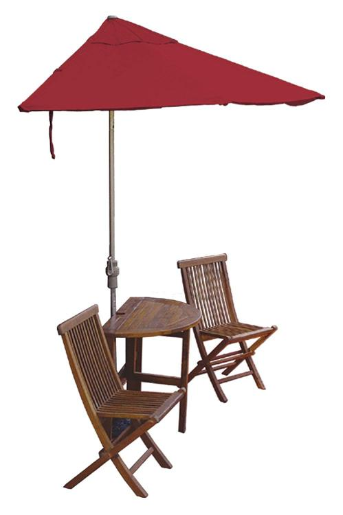 TERRACE MATES CALEO Standard Table Set w/ 9'-Wide OFF-THE-WALL BRELLA - Red Olefin Canopy