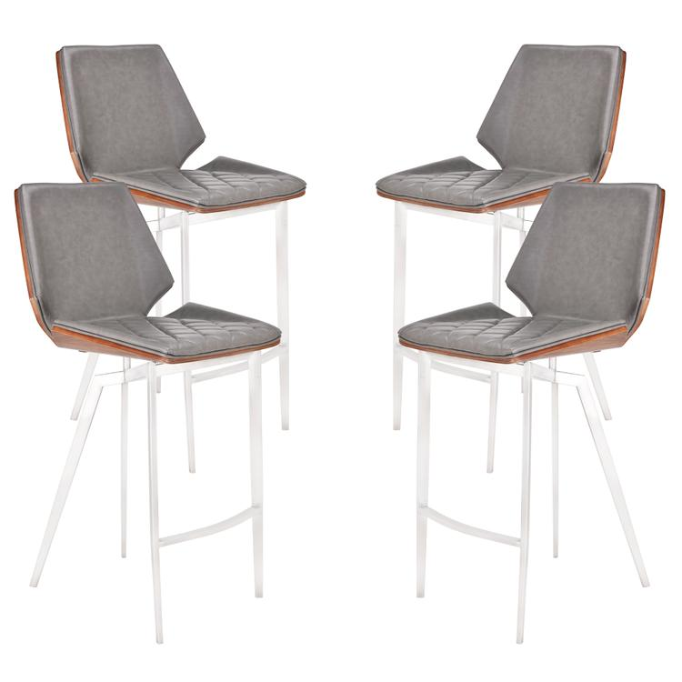 Outstanding Todays Mentality Rebecca Modern 26 Counter Height Bar Stool In Brushed Stainless Steel With Vintage Gray Faux Leather And Walnut Back Set Of 4 Gmtry Best Dining Table And Chair Ideas Images Gmtryco