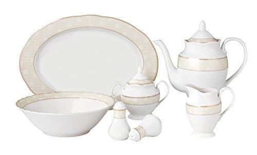57 Piece Wavy Dinnerware Set-Porcelain China Service for 8 People-Tova
